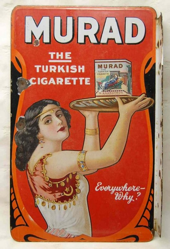 Murad Turkish Cigarettes Porcelain Flange Sign