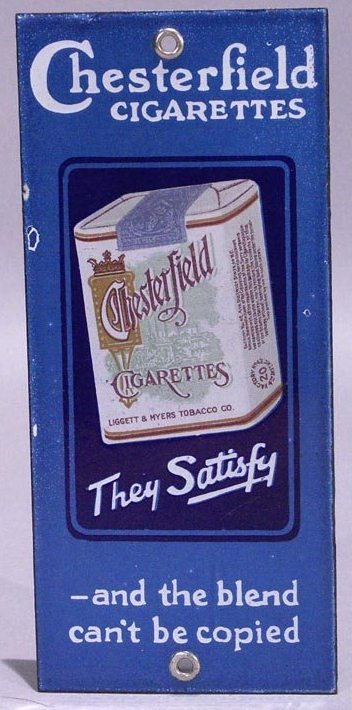 Chesterfield Cigarettes Tobacco Door Push Sign Porcelain Enamel