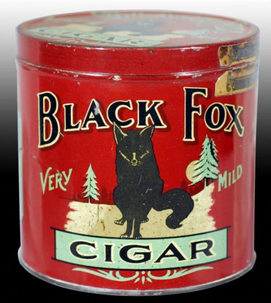 Black Fox Round Cigar Advertising Tin