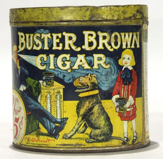 Buster Brown Cigar Canister Advertising Tin