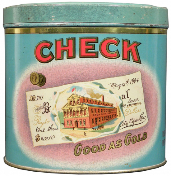Check 50 Cigar Round Advertising Tin