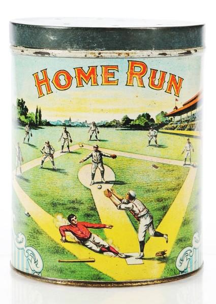 Home Run Round Cigar Advertising Tin