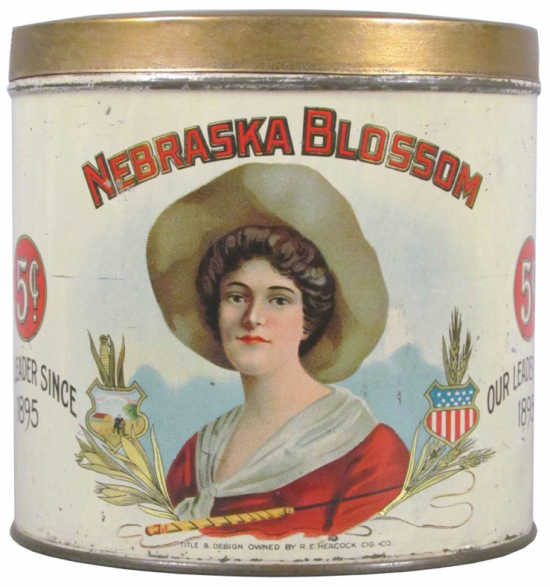 Nebraska Blossom 50 Cigar Advertising Tin