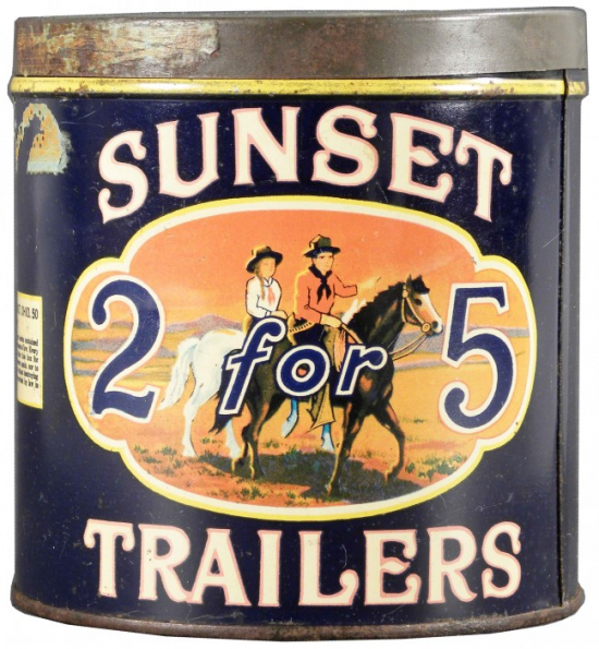 Sunset Trailers 2 for 5 cent Cigar Advertising Tin