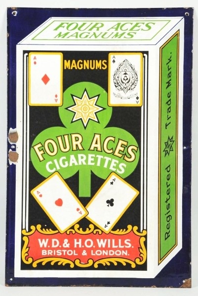Magnum's Four Aces Cigarettes Porcelain Sign