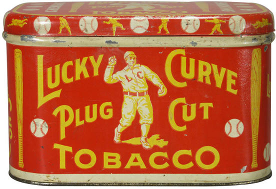 Lucky Curve Plug Cut Tobacco Tin Can Advertising