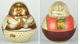 This is a figural style tin