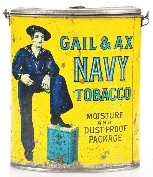 Gail and Ax Navy Tobacco Canister Tin