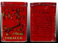 O K Special Short Cut Tobacco Vertical Pocket Tin