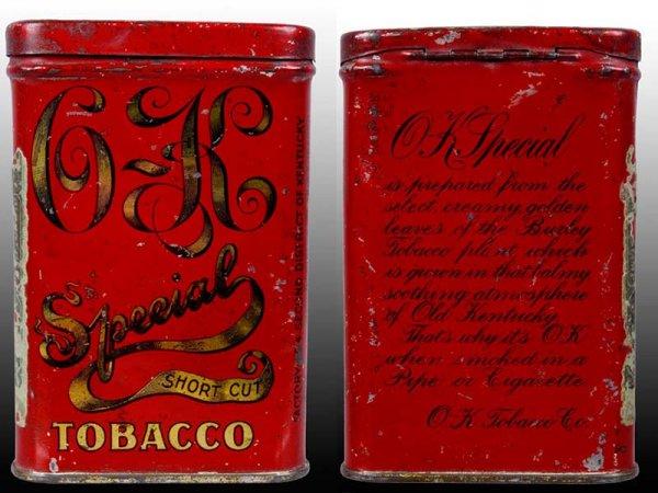 O K Special Short Cut Tobacco Vertical Pocket Tin
