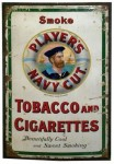 Player's Navy Cut Tobacco and Cigarettes Porcelain Sign