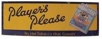 Players Please Cigarette Porcelain Tobacco Sign