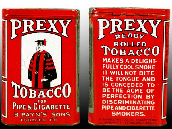 Prexy Vertical Pocket Tobacco Advertising Tin