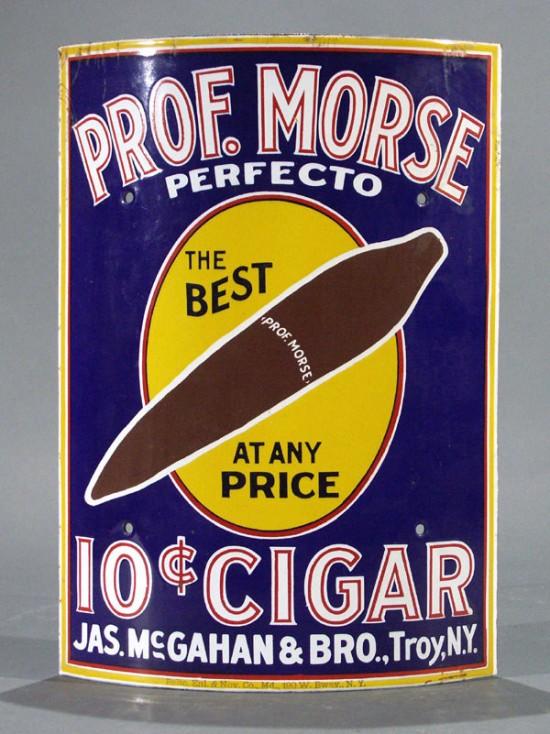 Prof Morse Porcelain Cigar Sign