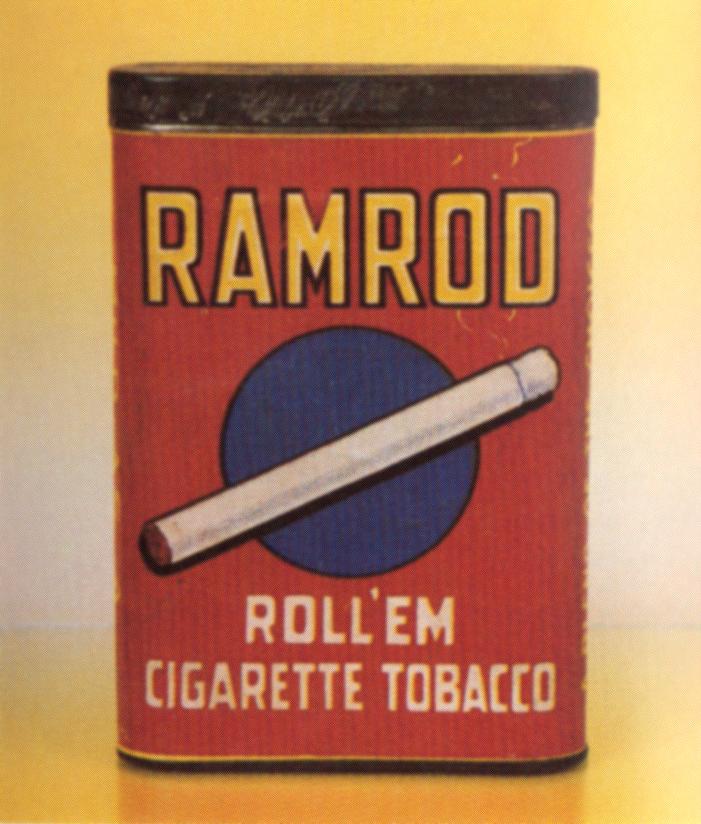 Ramrod Roll Em Cigarette Vertical Pocket Advertising Tobacco Tin