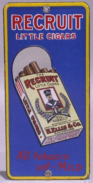 Recruit Little Cigars Tobacco Door Push Porcelain Sign