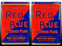 Red and Blue Crushed Plug Vertical Pocket Advertising Tobacco Tin
