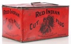 Red Indian Cut Plug Lunchbox Advertising Tobacco Tin