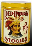Red Indian Stogies Cigar Canister