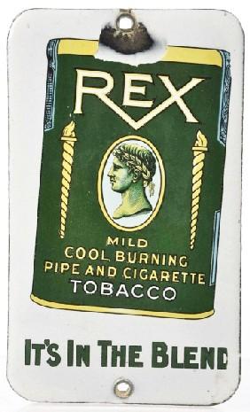 Rex Tobacco Door Push Advertising Porcelain Sign
