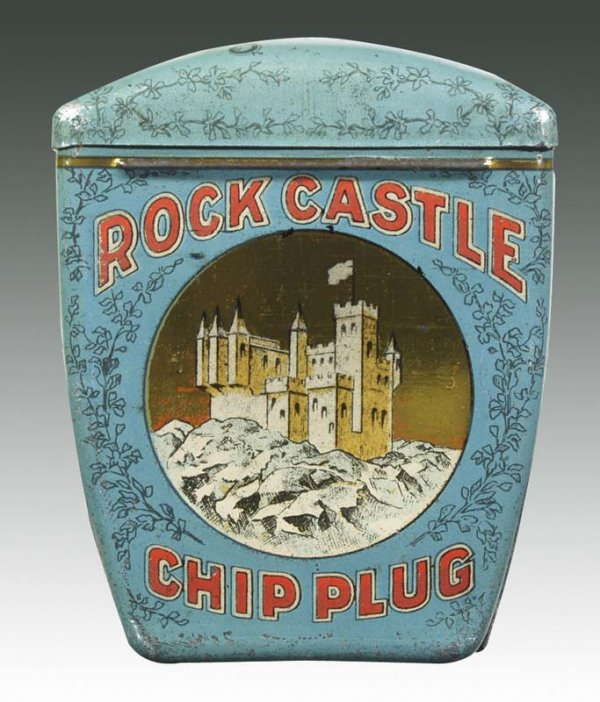 Rock Castle Chip Plug Unique Shape Pocket Advertising Tin