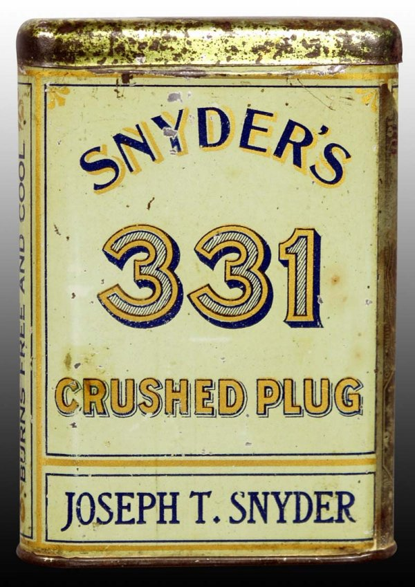 Snyder's 331 Crushed Plug Vertical Pocket Advertising Tin