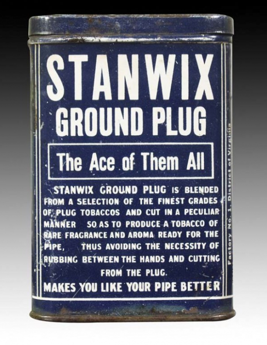 Stanwix Falk Company Vertical Pocket Ground Plug Tobacco Advertising Tin