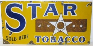 Star Tobacco Sold Here Porcelain Sign
