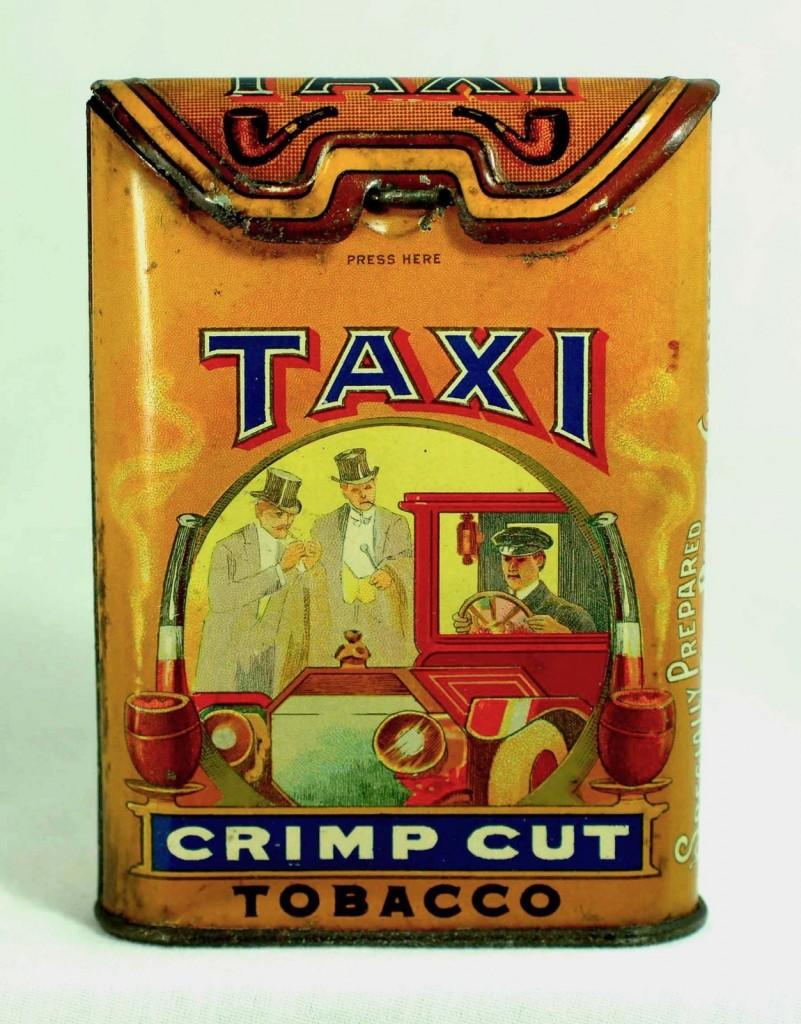 Taxi Crimp Cut Vertical Pocket Advertising Tobacco Tin