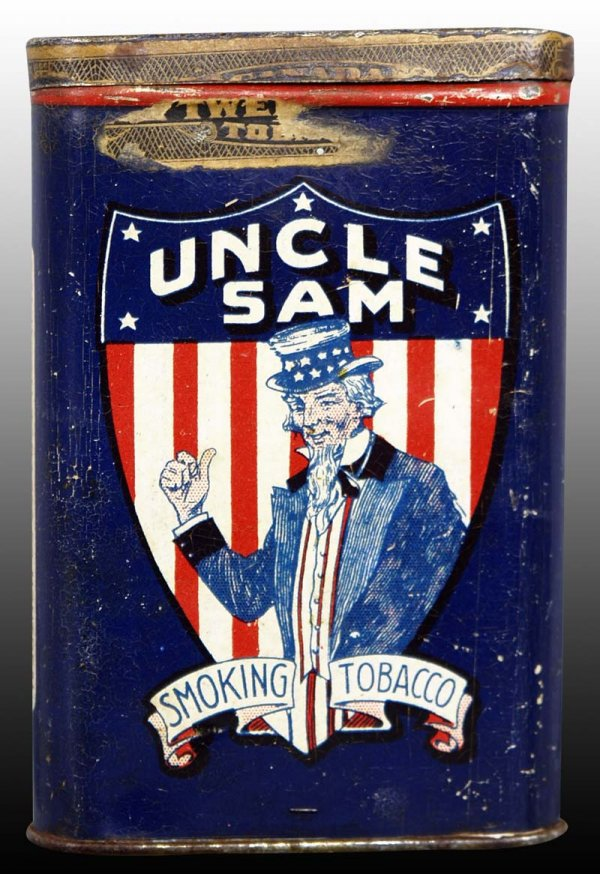 Uncle Sam Vertical Pocket Advertising Tobacco Tin