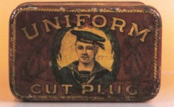 Uniform Cut Plug Square Corner Advertising Tobacco Tin