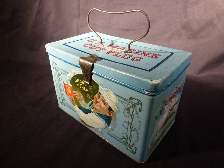 US Marine Lunchbox Cut Plug Tobacco Advertising Tin