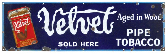 Velvet Pipe Tobacco Aged in Wood Sold Here Porcelain Sign