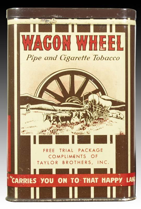 Wagon Wheel Sample Size Vertical Pocket Advertising Tobacco Tin