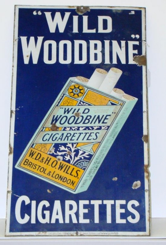 Wild Woodbine Cigarettes Porcelain Sign