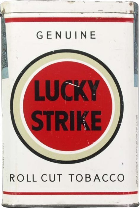 photo of a pack of Lucky Strikes cigarettes, smoke 'em if you got 'em
